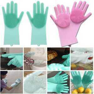 Hình thu nhỏ sản phẩm HOSSEN Magic Silicone Rubber Dish Washing Gloves Eco-Friendly Scrubber Cleaning Sponge
