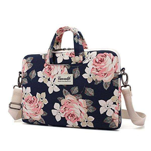 Canvaslife White Rose Patten Canvas Laptop Shoulder Messenger Bag Case Sleeve for 11 Inch 12 Inch 13 Inch Laptop and Macbook Air Pro 11 /12/ 13 Malaysia