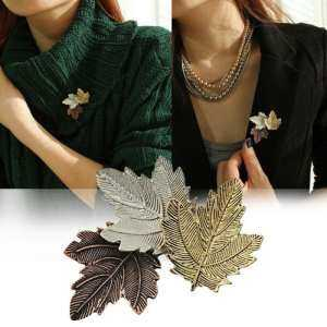 Hình thu nhỏ sản phẩm hatai Women's Fashion Accessories Vintage Maple Leaf Brooch Pin Gift For Ladies - intl