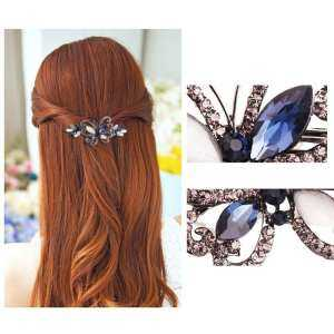 liangun Rhinestone Hair Clip, Vintage Crystal Butterfly Spring Hairpin Barrette For Women And Girls Hair Accessories - intl