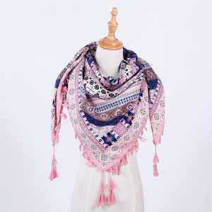 Hình ảnh YANYI Women Scarf Colorful Retro Kerchief with Tassels Fashionable Warm Soft Shawl For Ladies