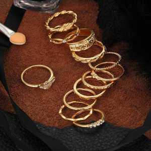Hình thu nhỏ sản phẩm 12pcs Women Fashion Vintage Style Retro Finger Rings Alloy Joint Knuckle Midi Nail Ring Set for Daily Wear Anniversary Engagement Party - intl