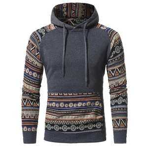Hình thu nhỏ sản phẩm SA Pretty Ethnic Style Male Hooded Sweatshirt Stylish Long-Sleeve Coat Hoody Tops Gift for Winter Autumn