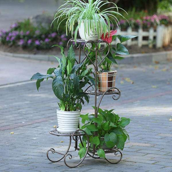 MWT1 Iron Art Flower Stand Floor-type Flowerpot Shelf Multilayer Indoors And Outdoors European Style Living Room Terrace/Patio Scindapsus Shelf
