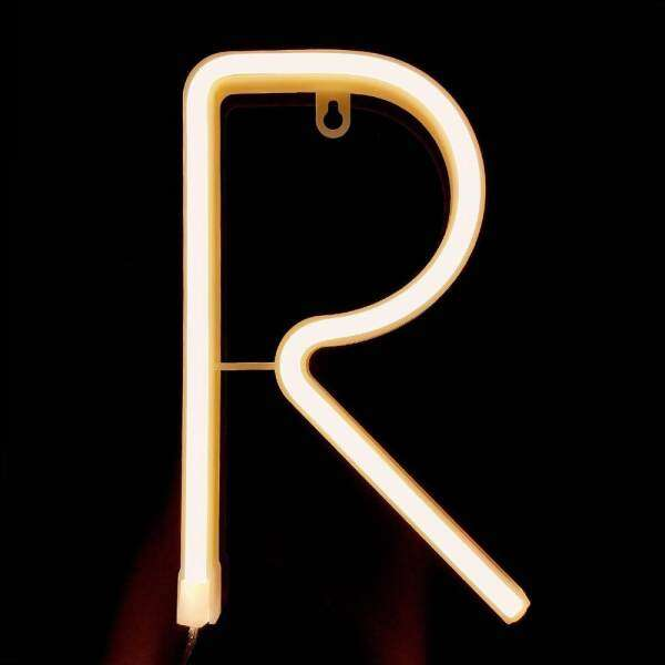 Letter Lamp Operated Powered R Shape Warm White for Home Party Decoration Cafe Shop Restaurant Wedding Function Lamp Shades R