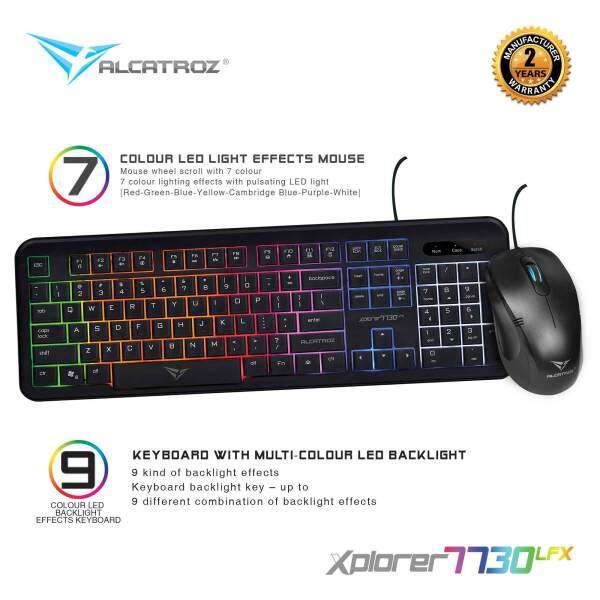 Xplorer 7730LFX Gaming Keyboard Mouse (7 Color LED Light) Combo By Alcatroz Malaysia