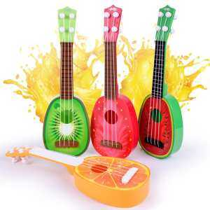 Hình thu nhỏ sản phẩm Mini Creative Simulation Guitar/Bass/Ukulele Children Intelligence Development Fruit Shape Music Instrument with Real Strings Style:Orange QIMIAO - intl