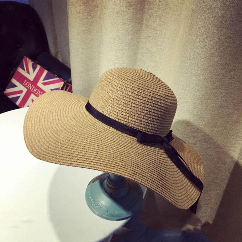 ฤดูร้อนหมวกฟางฟลอปปี้ผู้หญิงบิ๊กกว้าง Brim ริบบิ้นหมวกกันแดดสำหรับผู้หญิงพับชายหาดปานามาหมวก