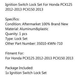 Areyourshop Ignition Switch Lock Set 35010-KWN-710 For Honda PCX125 2012-2013 PCX150 2013