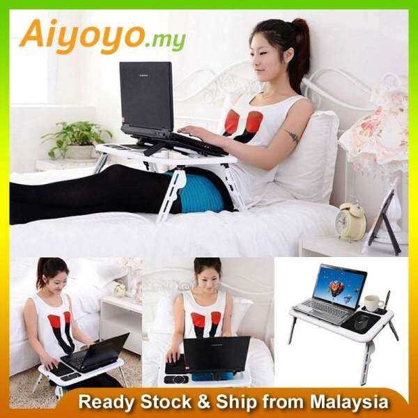 E-Table Portable Foldable Laptop Notebook Computer Desk Table USB Cooling Big Fan System Mouse Pad MultiFunction LED Light Cooler Pad PC Stand Adjustable Macbook Apple Mac Windows Office Bed Reading, Writing Eating Drawing Malaysia