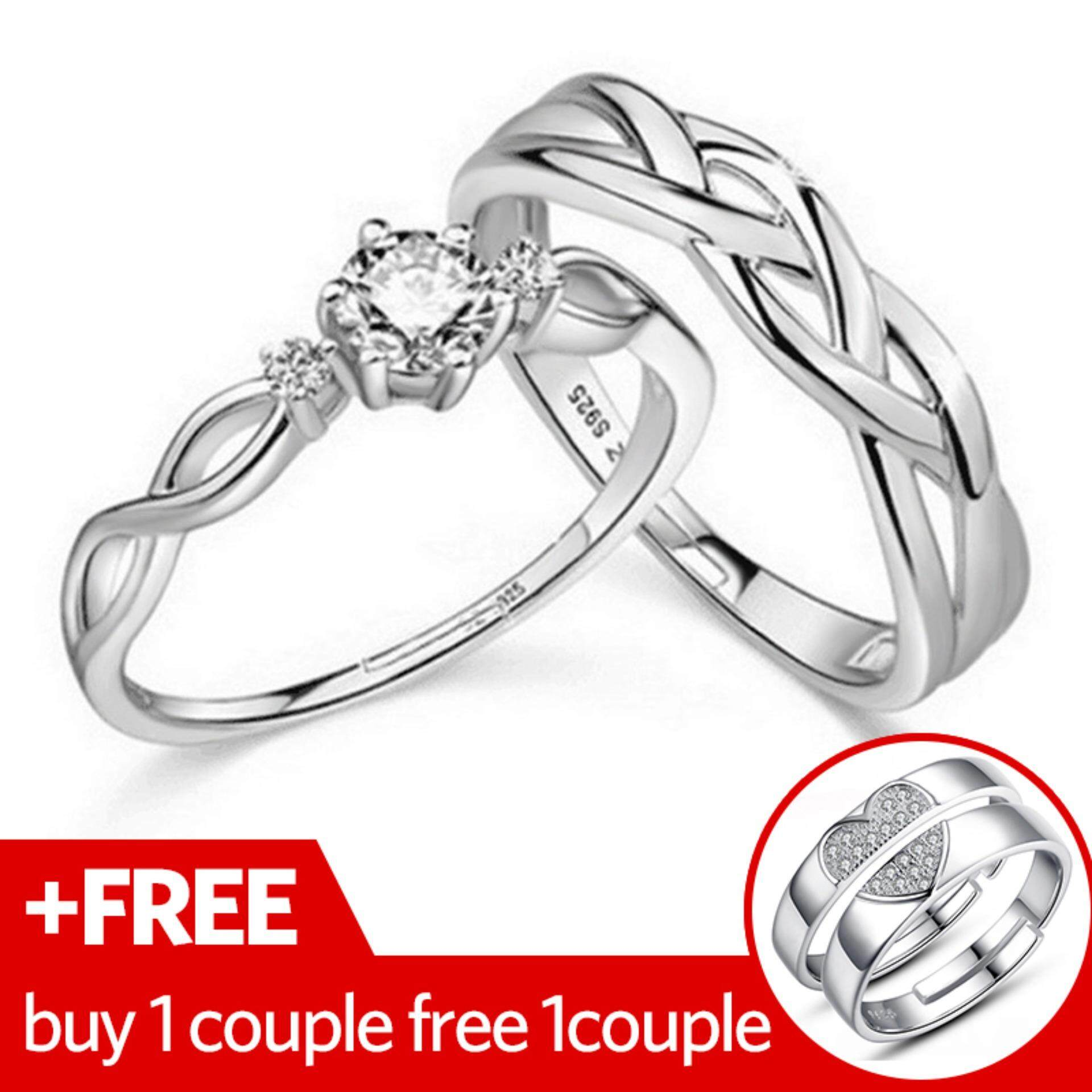 Hình thu nhỏ 2 Couple Adjustable Couple Rings 925 Silver Romentic Lover Ring Jewelry E028 [buy 1 couple free 1 couple] - intl