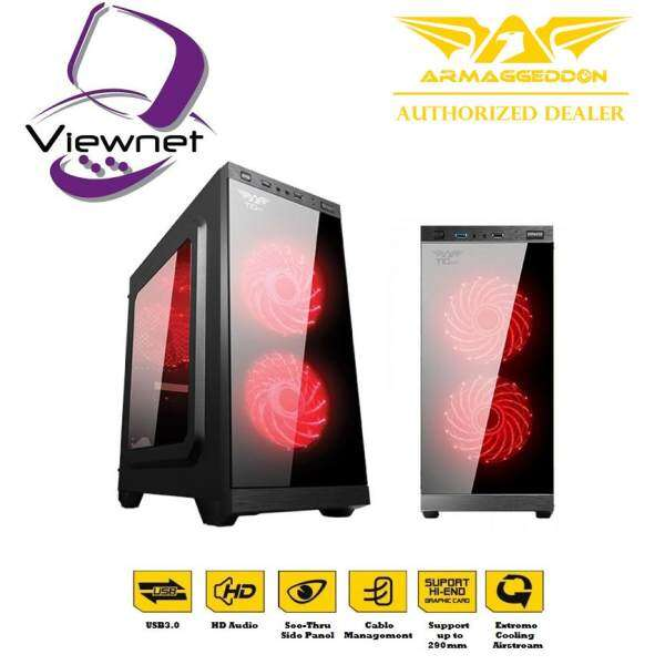 GENUINE ARMAGGEDDON T1G PRO MICRO ATX GAMING CHASIS PC CASING FULL VIEW TRANSPARENT FRONT SIDE PANEL DESIGN Malaysia