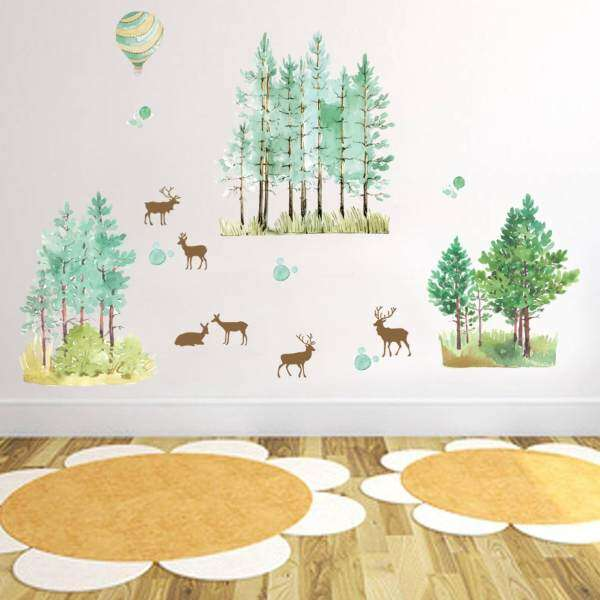 Forest Fawn Living Room Non-Toxic Removable Decor Sticker Bedroom ...