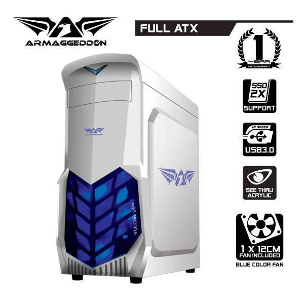 Vulcan V1x Full ATX Gaming PC Chassis (White) By Armaggeddon Malaysia