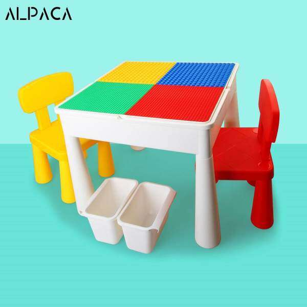 Multi-Functional Blocks Learning Building Assembled Table Desk And Chair with Storage Box,Panel and EVA bath mat with 4 configurations For Kids suit for Playing Building Blocks Bricks Toys made with PP Plastic Stable Educational Enlighten High Quality