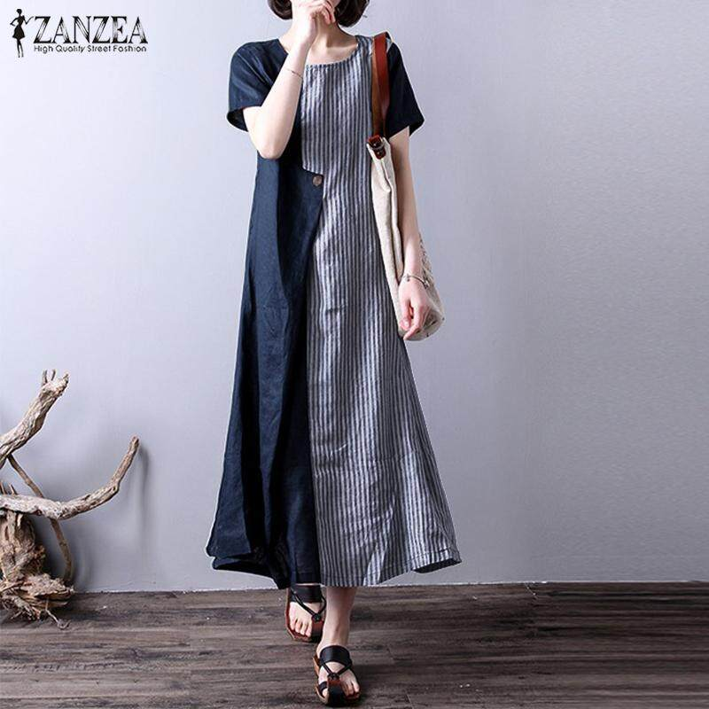 ZANZEA Women Loose A-Line Vintage Striped Long Maxi Kaftan Sundress Dress