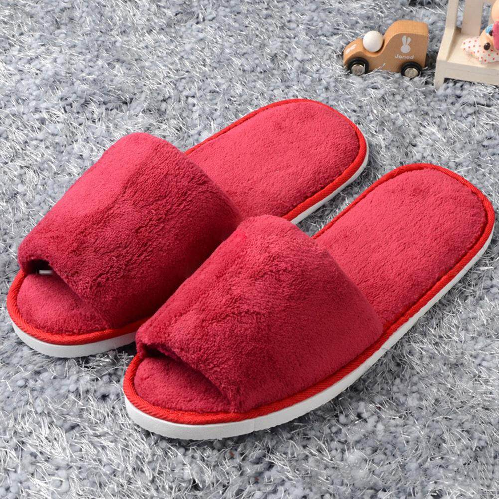 Household Women Men Open Toe Fleece Slippers House Indoor Guest Shoes รองเท้าใส่ในบ้าน
