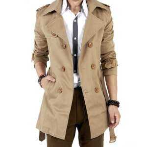 Hình thu nhỏ sản phẩm YANYI Men Windbreaker Long Fashion Jacket with Double-breasted Buttons Lapel Collar Coat