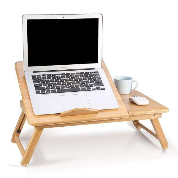 Bamboo Laptop Desk For Bed Height Adjustable Lap Desk Table Foldable  Breakfast Serving Bed Tray With ...