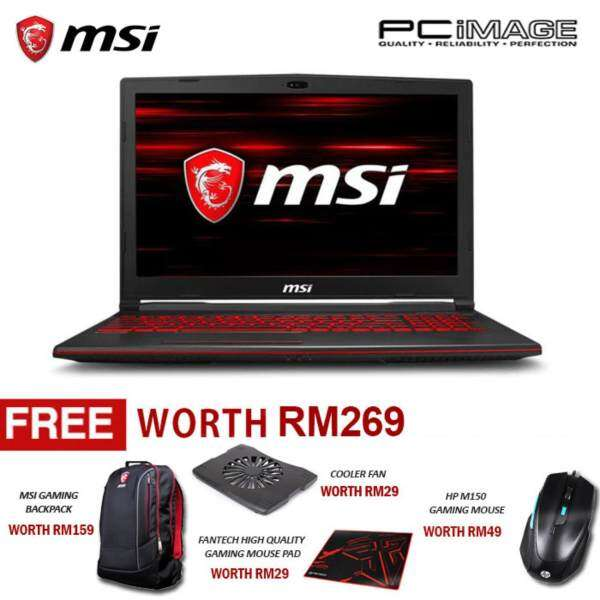 MSI GL63 8RD-410 (Intel i7-8750H, 8GB, 128GB+1TB, Gtx1050Ti, W10) Gaming Notebook-Black Malaysia