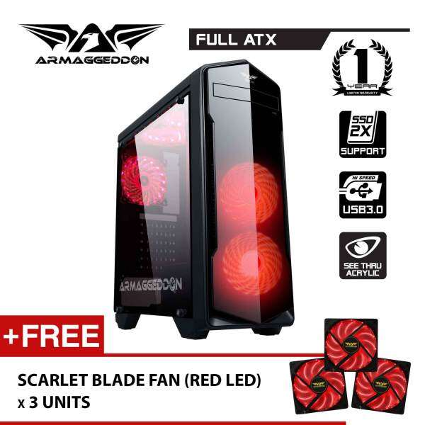 T5x Pro Full ATX - Smart Gaming Structure PC Chassis Free Scarlet Blade LED Fan (x3) By Armaggeddon Malaysia