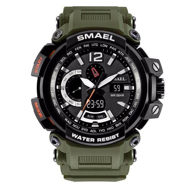 SMAEL NEW Military Watch Waterproof 50M S Shock Resitant Waterproof Sport Quartz Watch Men's Watches LED Dual Display Digital Electronic Military Watch 1702 - intl