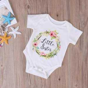 Little Sister Big Sister Match 2018 New Summer Clothes Kids Girls Short Sleeve Floral Bodysuit Pullover Jumpsuit Romper Outfits White