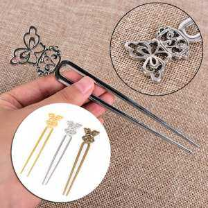 Hình thu nhỏ sản phẩm U Shape Retro Metal Hair Fork Hair Pin Hair Pick Square Hair Clip Hair Jewelry Golden - intl
