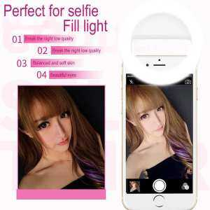 Hình thu nhỏ sản phẩm woowof Clip On Selfie Ring Light [Rechargeable Battery] With 24 LEDs For IPhone 6 6s 7 Plus, IPad, Samsung Galaxy And Other Andriod Smart Phones(White)