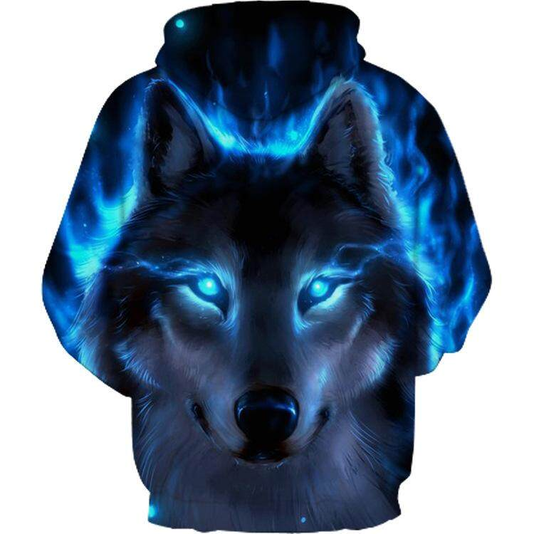 Men Hip Hop 3D Lighting Fox Print Hoodies Coat