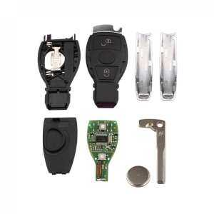 434MHz 2 Buttons Keyless Uncut Flip Remote Key Fob with NEC&BGA Key Shell Replacement Case
