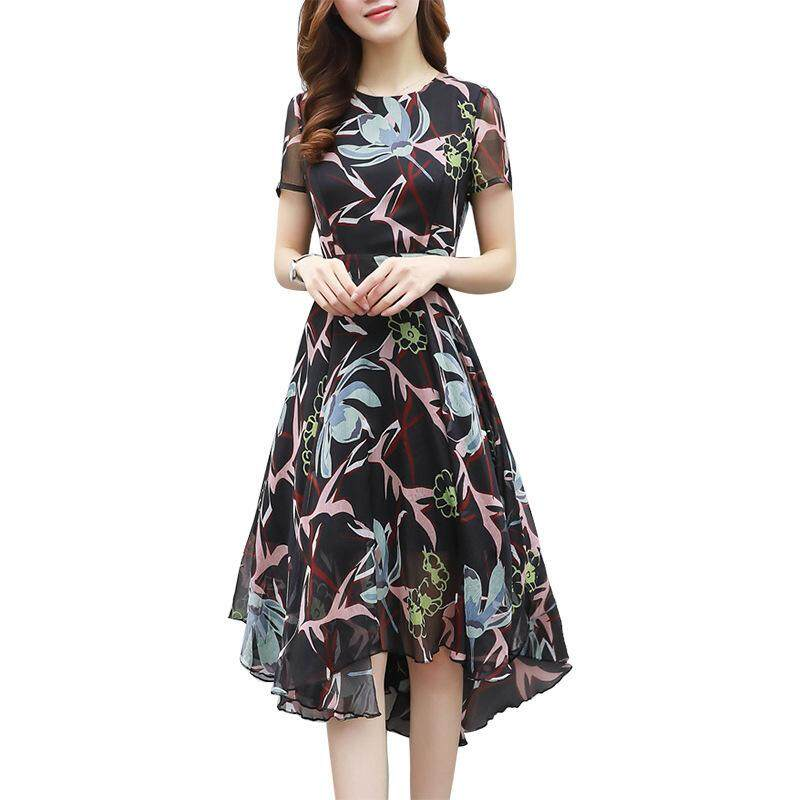 Summer new fashion Korean women's slim short-sleeved printed chiffon dress