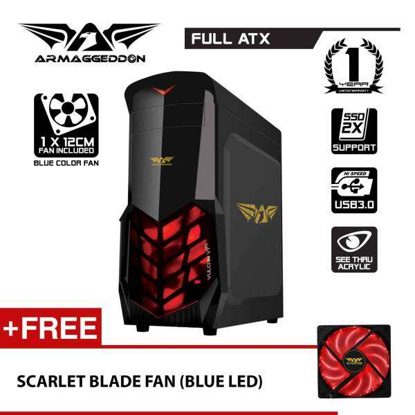Vulcan V1x Full ATX Gaming PC Chassis (Black) Free Scarlet Blade Fan By Armaggeddon Malaysia