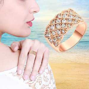 Fancyqube New Fashion Luxury High Quality Rose Gold Color/Silver Plated Cubic Zirconia Ring Engagement Jewelry for Women - intl