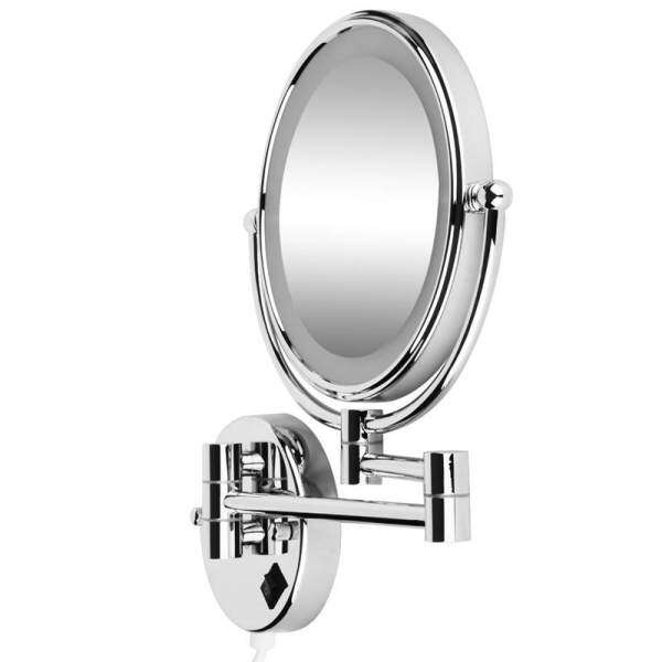8 Inch LED Wall Mirror Bright Magnifying Extension Folding - Double Faced with normal and Magnifying x5 - 360 degree rotation (with EU plug) Philippines