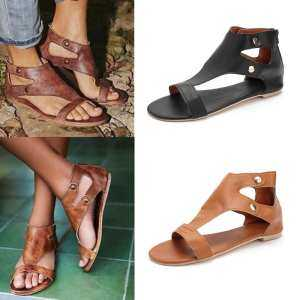 Fashion Women Summer Flat Leather Sandals Open Toe Casual Shoes for Gladiator Style