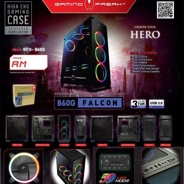 Official Avf Gaming Freak Falcon 860G High End Gaming Atx Casing Malaysia