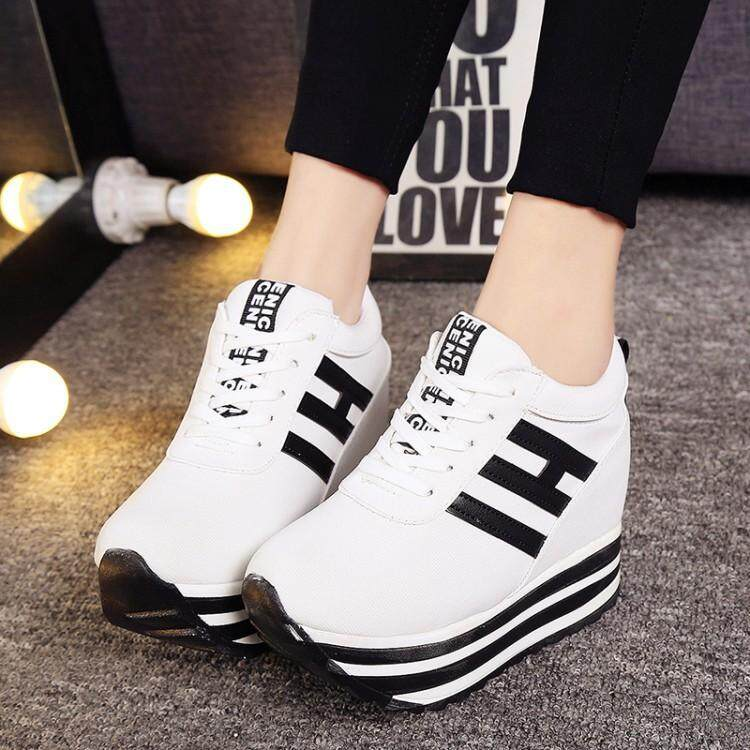 Women Fashion Height Increase Shoes Lady Thick-soled Casual Footwear Solid Color Platform Shoes