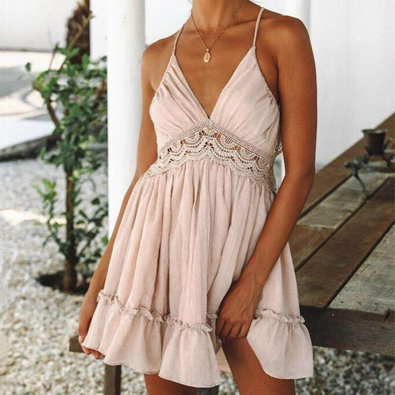 Women Sexy Backless Deep V Neck Pleated Summer Dresses Hollow Out Beach Wear