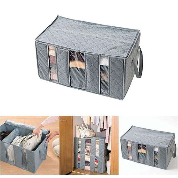 Fortunet Gray Bamboo Charcoal Clothes Storage Bag 65L(60*35*31cm)