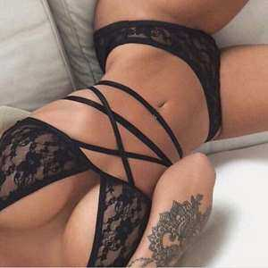 Women Summer Sexy Black Lace Up Bikini Set Bra Underwear Suit Lingerie Set 1