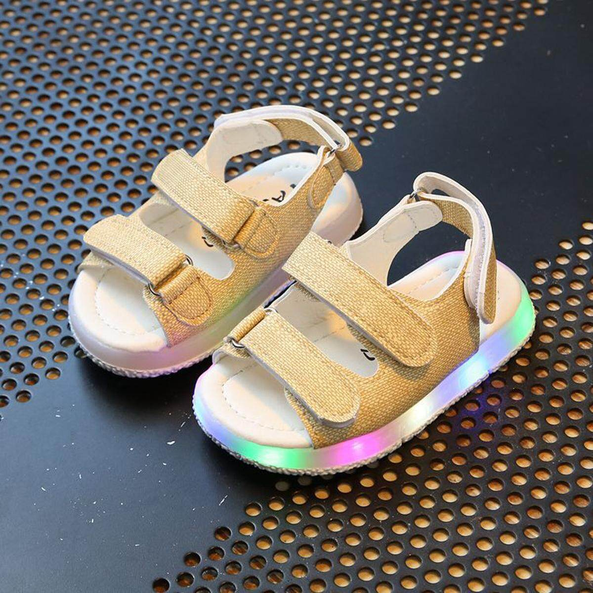 New Fashion Children Sandals Boys Girls Sport Sandals Summer Light LED Velcro Beach Sandals Kids Anti-slip Shoes