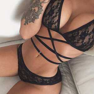 Women Summer Sexy Black Lace Up Bikini Set Bra Underwear Suit Lingerie Set 2
