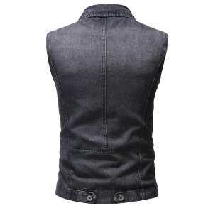 Hình thu nhỏ sản phẩm Men's Autumn Winter Destroyed Vintage Denim Jacket Waistcoat Blouse Vest Top