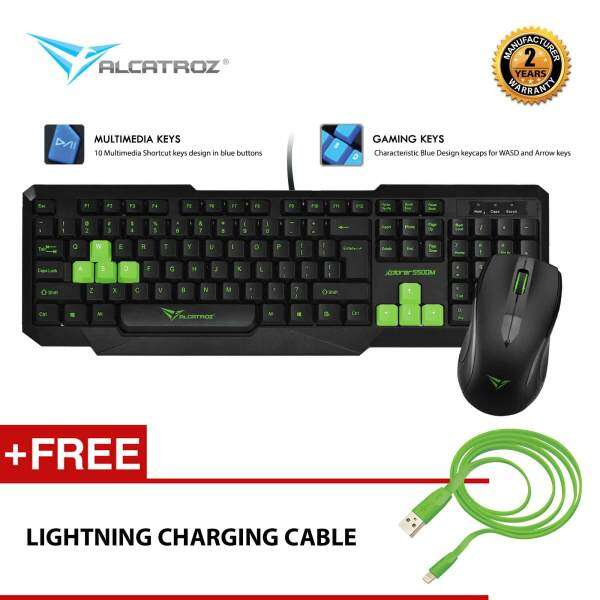Xplorer 5500M Multimedia USB Keyboard Mouse Combo Free Lightning Charging Cable By Alcatroz Malaysia