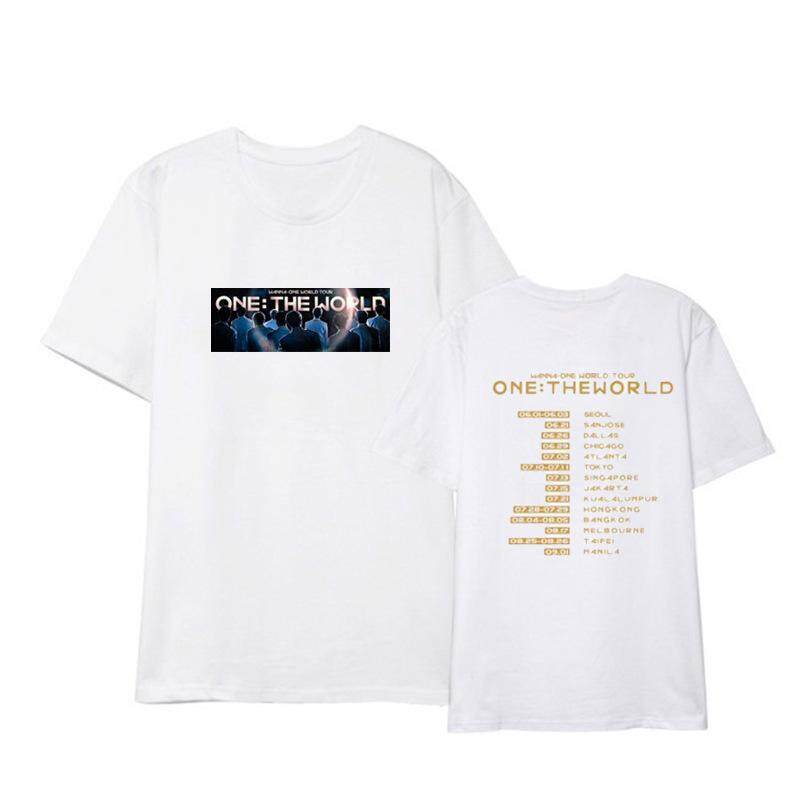 Kpop WANNA ONE ONE THE WORLD Album SUGA J-HOPE JIMIN V JUNGKOOK Rap Monster RM Fan Club Unisex Shirts Hip Hop Casual Loose Clothes Tshirt T Shirt Short Sleeve Tops T-shirt For Men And Women DX815