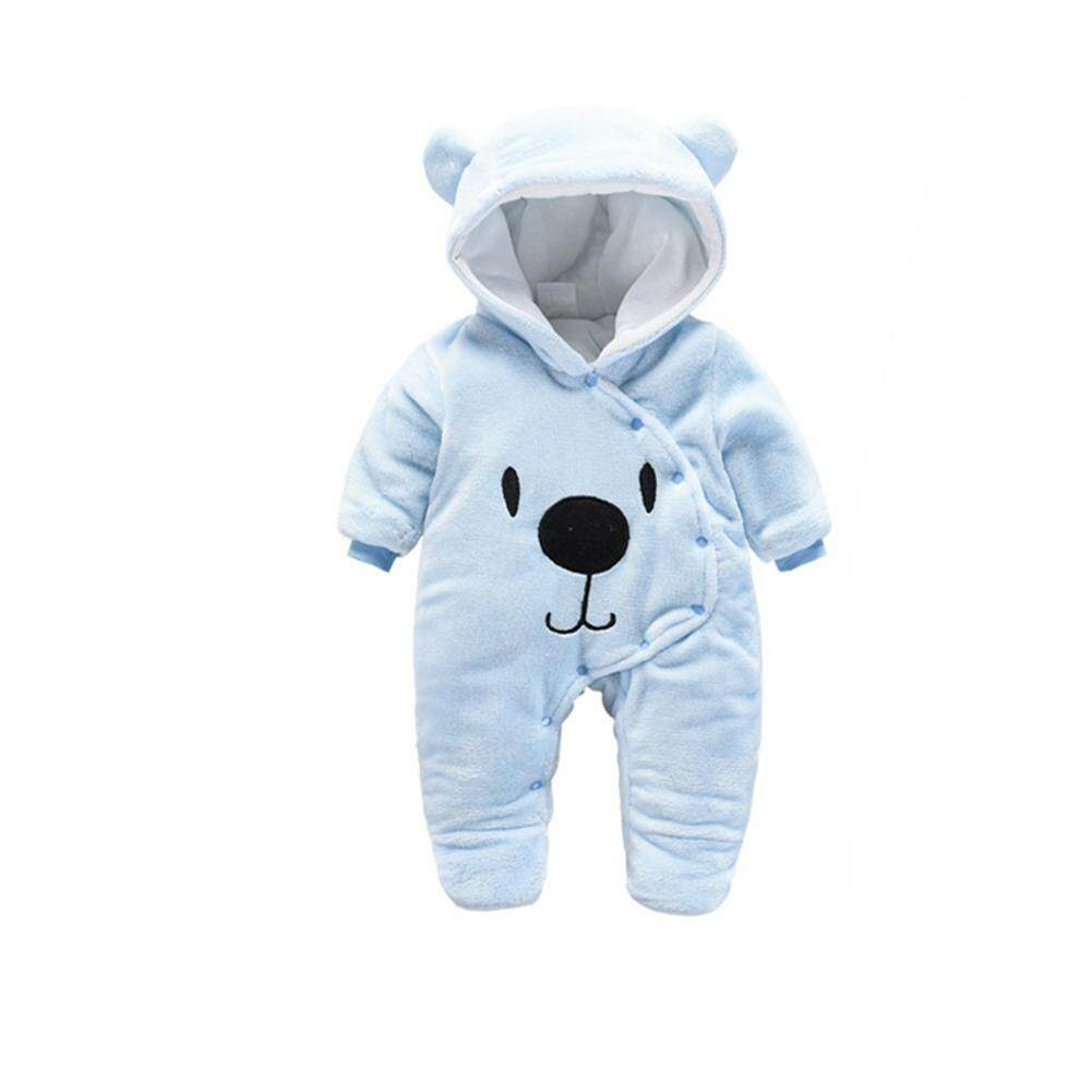 Baby Unisex Cartoon Jumpsuit Thicken Flannel Rompers Warm Hooded Clothes