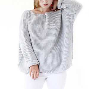 YANYI Women Unique Style Off-shoulder Neck Exposing Shoulder Long Sleeve Sweater Knitted Sweater