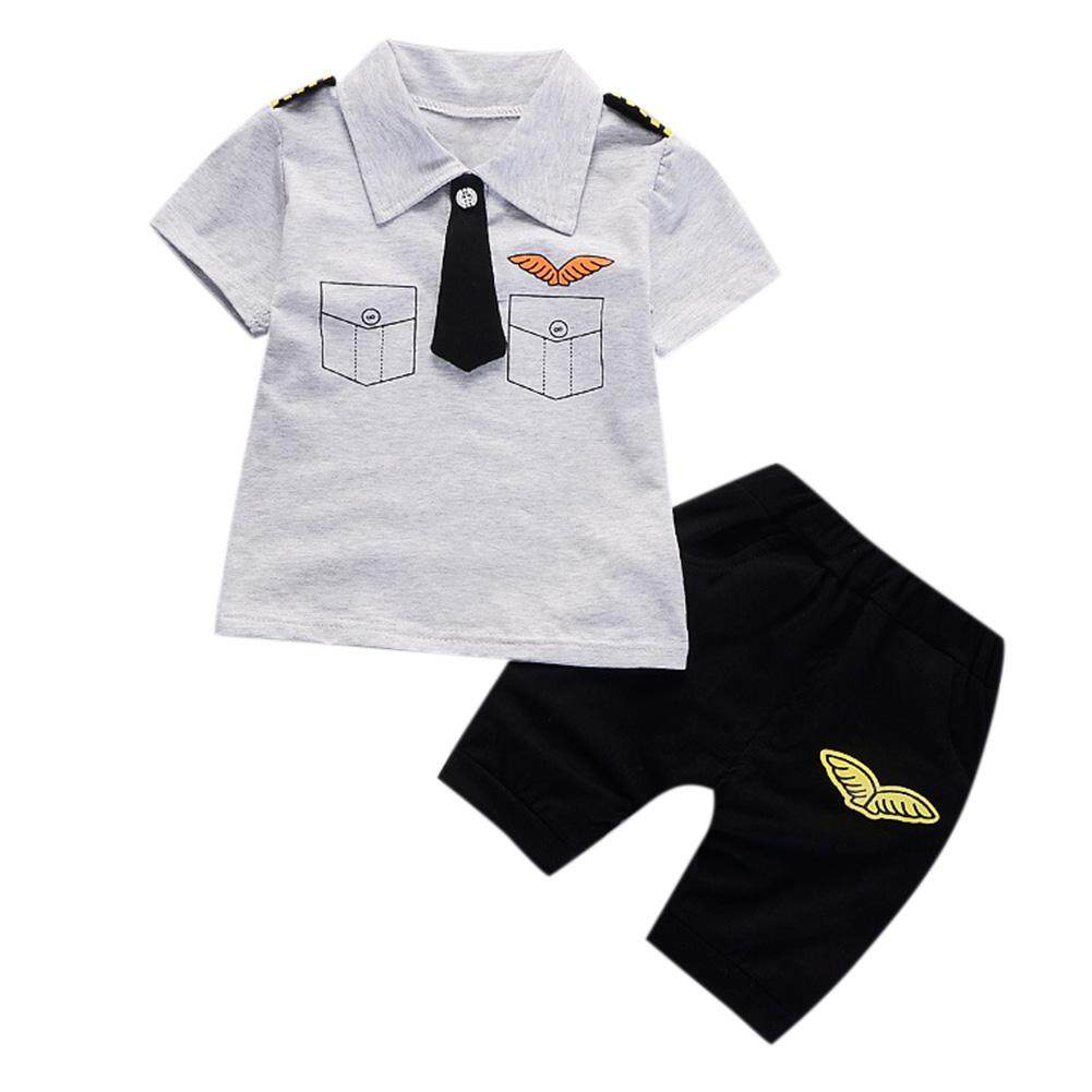 2 Pcs/Set Baby Toddlers Newborns Boys Gentleman Set Tie Epaulettes T-shirt + Shorts