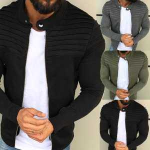 Hình thu nhỏ sản phẩm Men Jacket Winter Coat Solid Color Striped Tops Zipper Closure Casual Jacket M-XL
